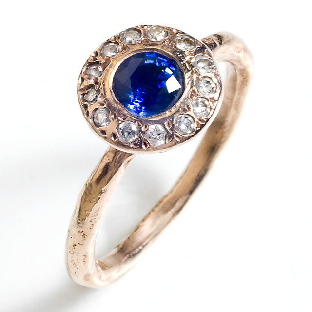 Sapphire Halo Rose Gold Engagement Ring
