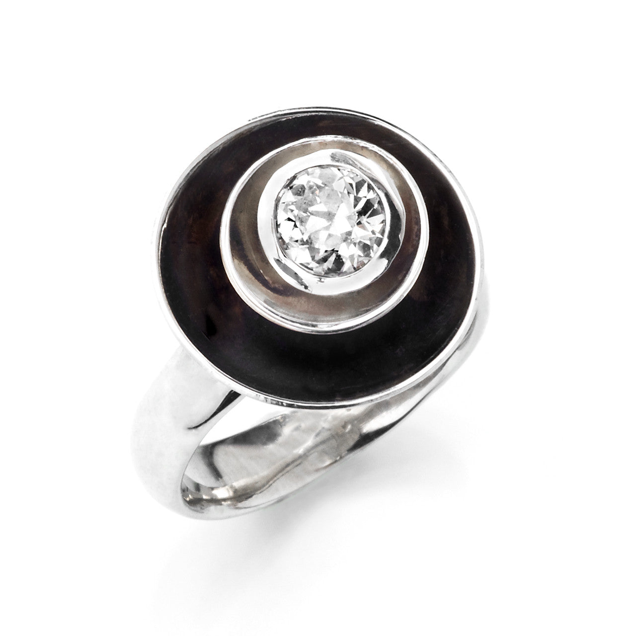 Concentric Satellite Cocktail Ring with Diamond