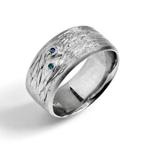 Tree-Textured Wedding Band with Faceted Stones