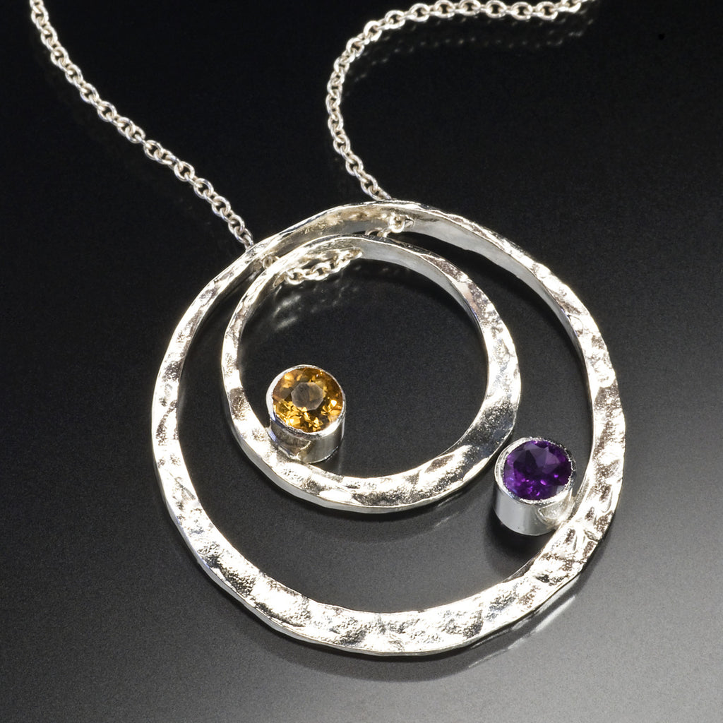 Custom Concentric Pendant with Stones