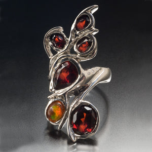 Fire Opal and Garnet Cocktail Ring