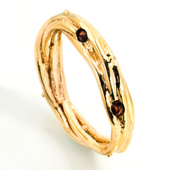 14k yellow gold nesting ring with garnets