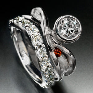 Floating Diamond Engagement and Wedding Ring Set