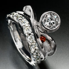 14k white gold wedding set with diamonds