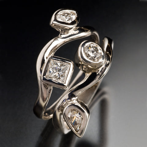 Waving Diamonds Stacking Rings
