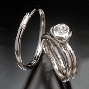 Solitaire Wave Wedding & Engagement Ring Set