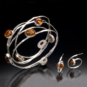 Amber Solar System Bangle and Earrings