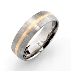 palladium half round wedding band with gold inlay