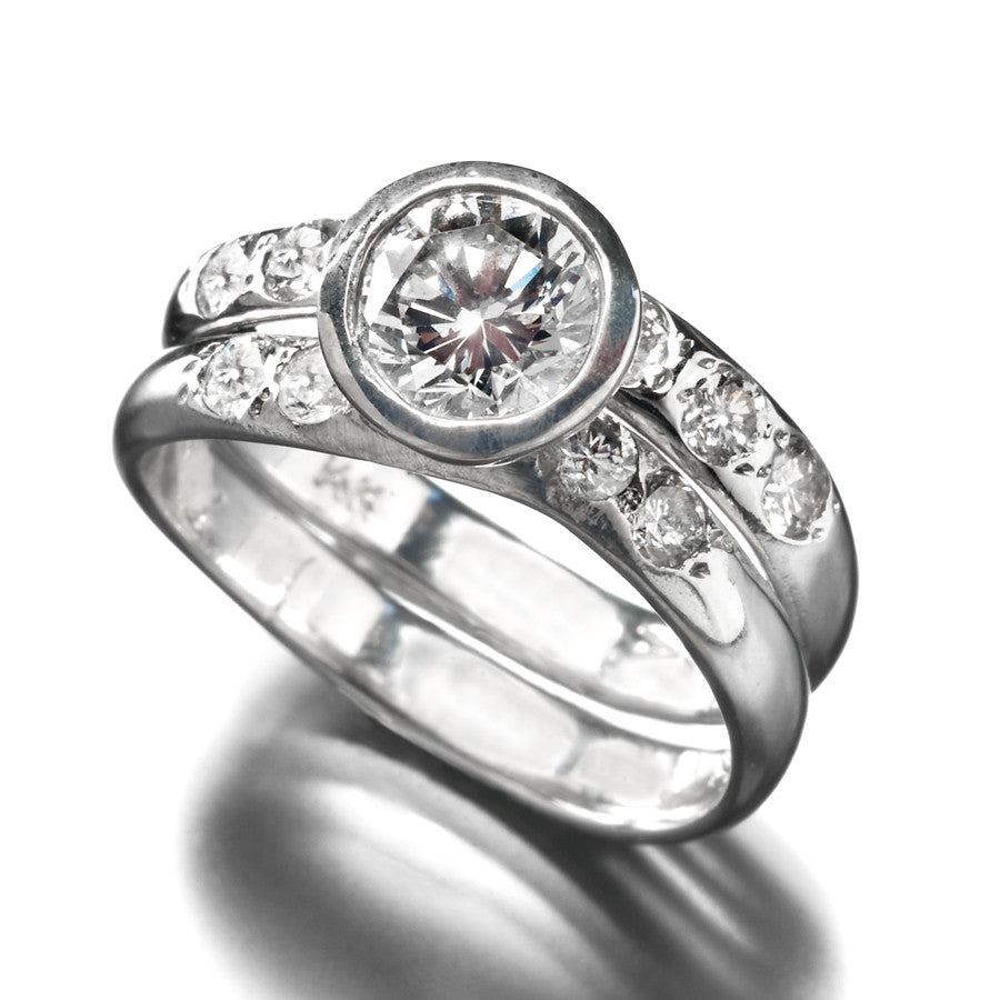 Half-round Wave Wedding and Engagement Ring Set