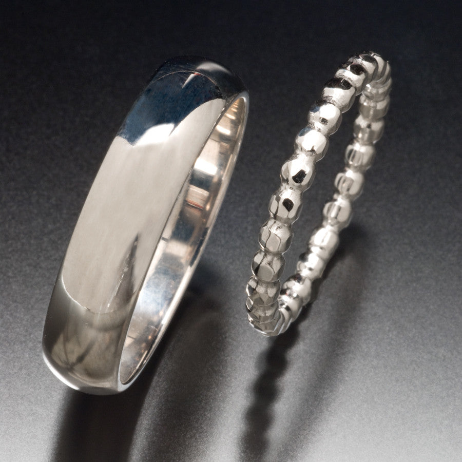 Half-Round and Beaded Wedding Bands