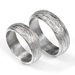 Tree-Textured Wedding Bands
