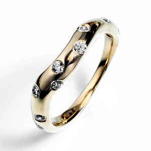 Contour Starburst Wedding Band