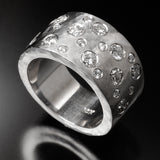 Recycled 14k white gold ring with diamonds