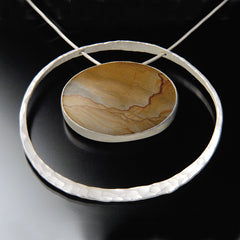 Picture Jasper in Nebula necklace set in recycled sterling silver