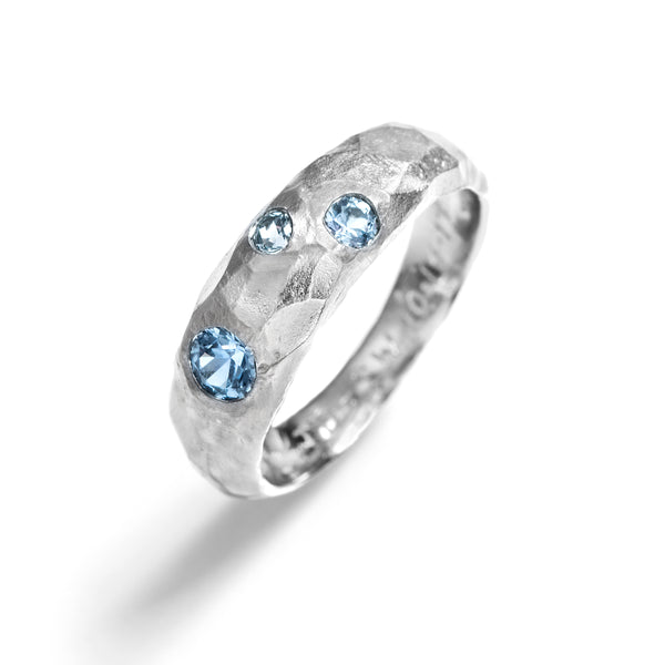 Chiseled Wedding Bands with Montana Sapphires