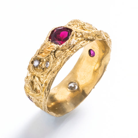 Custom Yggdrasil Band with Rubies and Diamonds