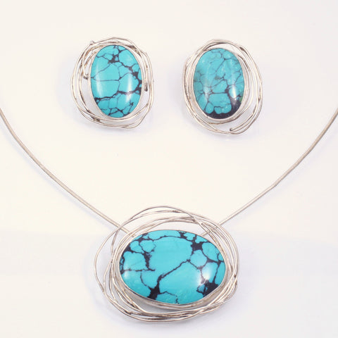 In Orbit Earring and Pendant Set with Turquoise