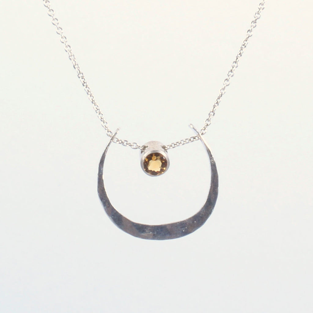 Small Luna Pendant with Faceted Stone