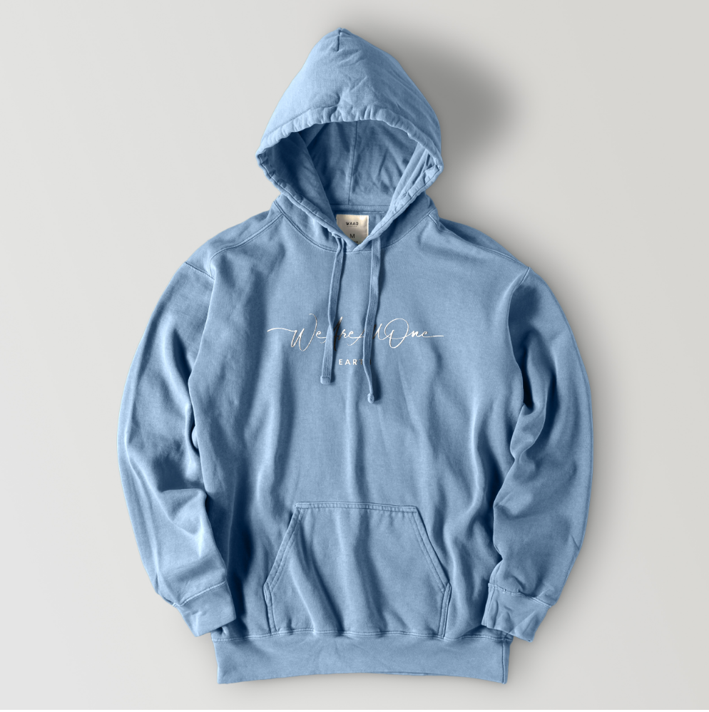 """We Are All One"" Vintage Blue Hoodie"