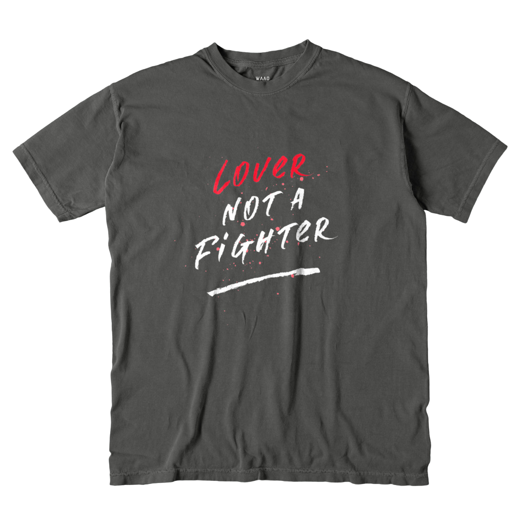 """Lover Not A Fighter"" - Unisex Vintage Charcoal T-shirt"