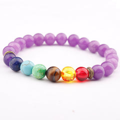 Colorful seven chakra energy yoga beads natural volcanic stone beaded bracelet