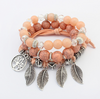 Image of Europe and America retro life tree leaves multi-layer bracelet female hand-made glass beads