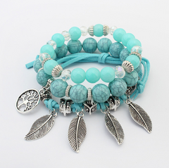 Europe and America retro life tree leaves multi-layer bracelet female hand-made glass beads
