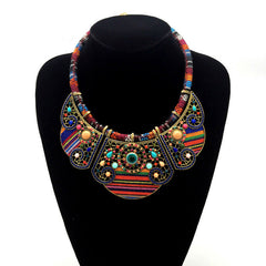 Fashion ethnic style Exaggerated personality rice beads ceramic hollow alloy necklace
