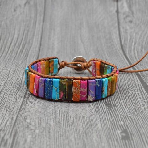 Chakra Bracelet Jewelry Handmade Multi Color Natural Stone Tube Beads Leather Wrap Bracelet Couples Bracelets Creative Gifts