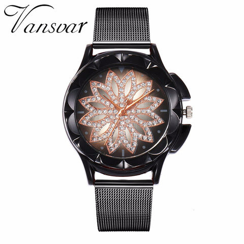 Fashion Women Rose Gold Flower Rhinestone Wrist Watches Luxury Quartz