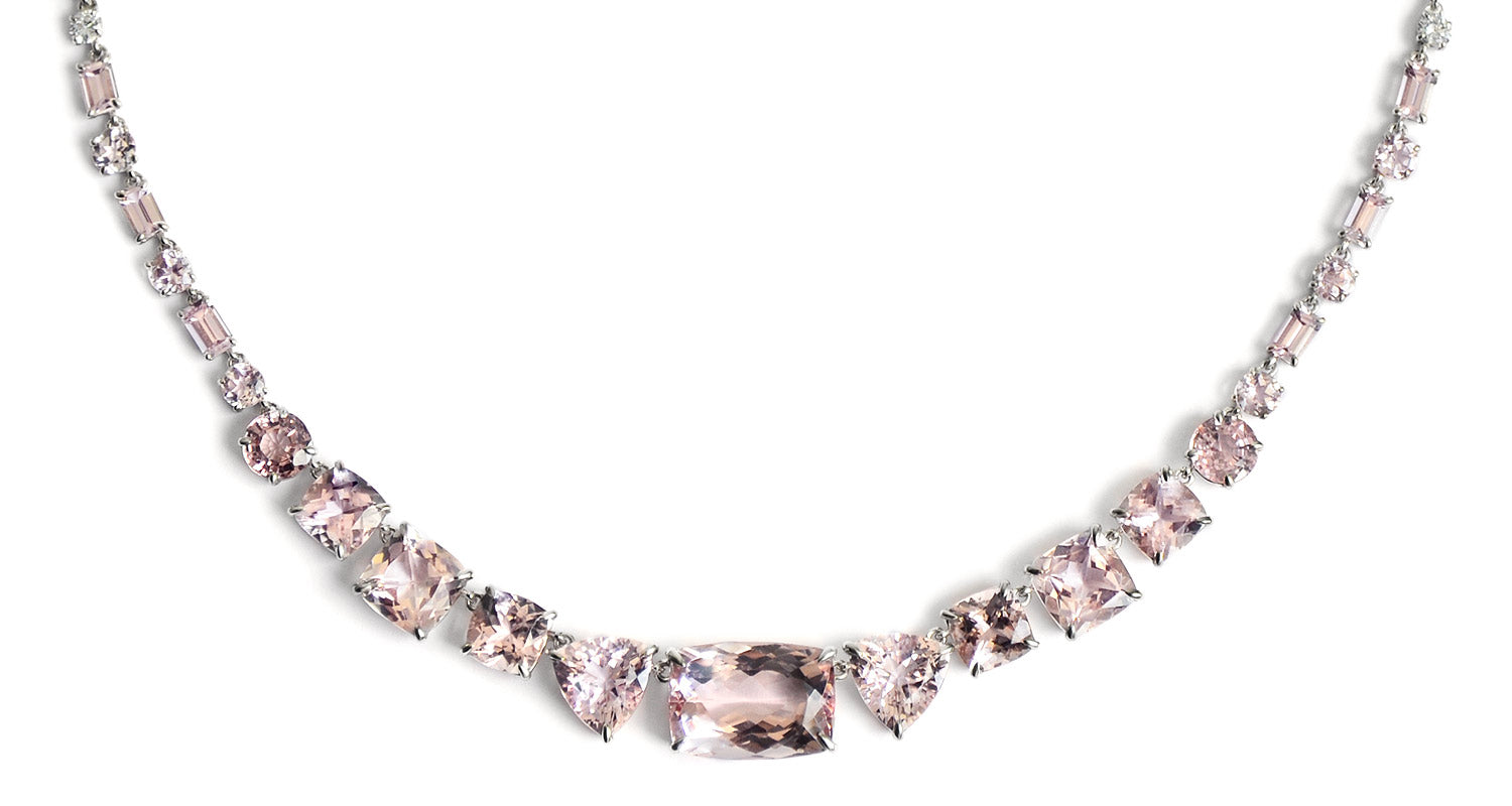Morganite gemstone necklace in a white gold prong setting