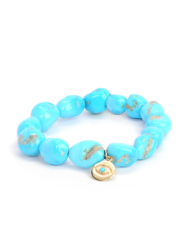 Boheme Evil Eye Charm Sleeping Beauty Turquoise Nuggets Bracelet