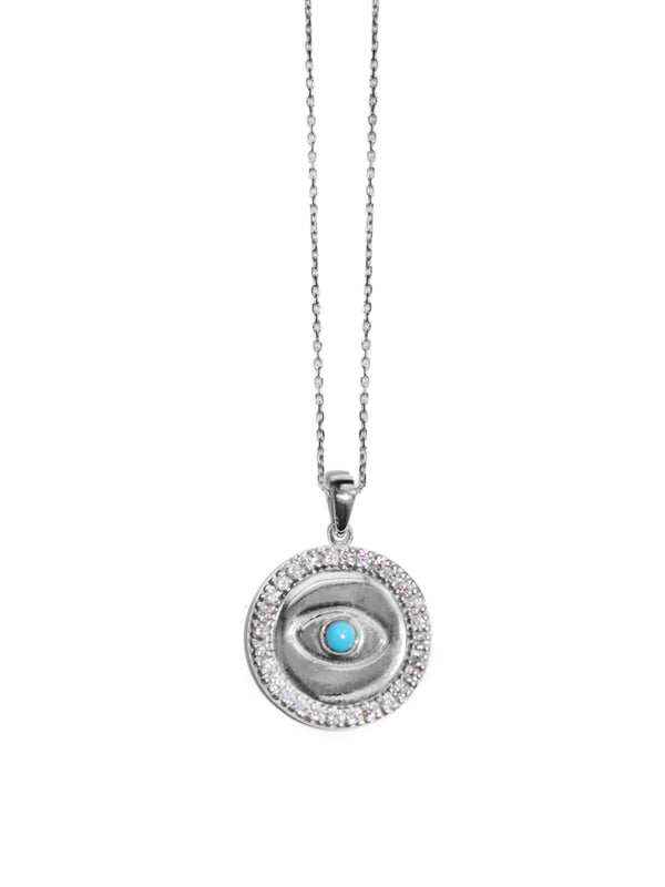 Silver Royale Charm Necklace - Turquoise Evil Eye