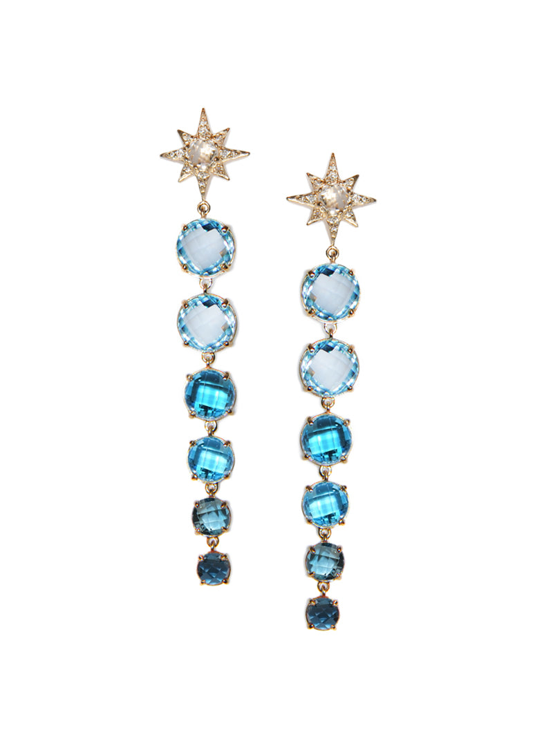 Aztec Long Graduated Starburst Earrings