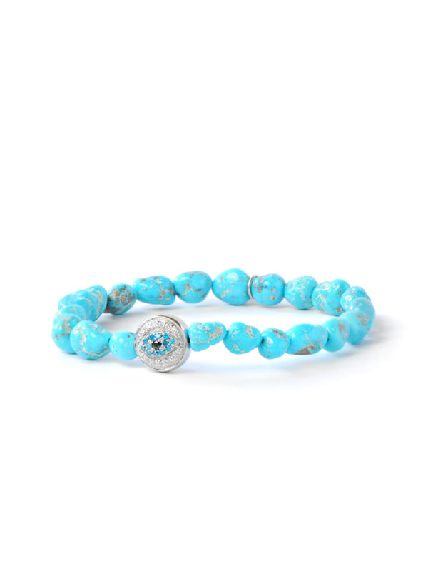 Bohème Evil Eye Sleeping Beauty Turquoise Nuggets Bracelet
