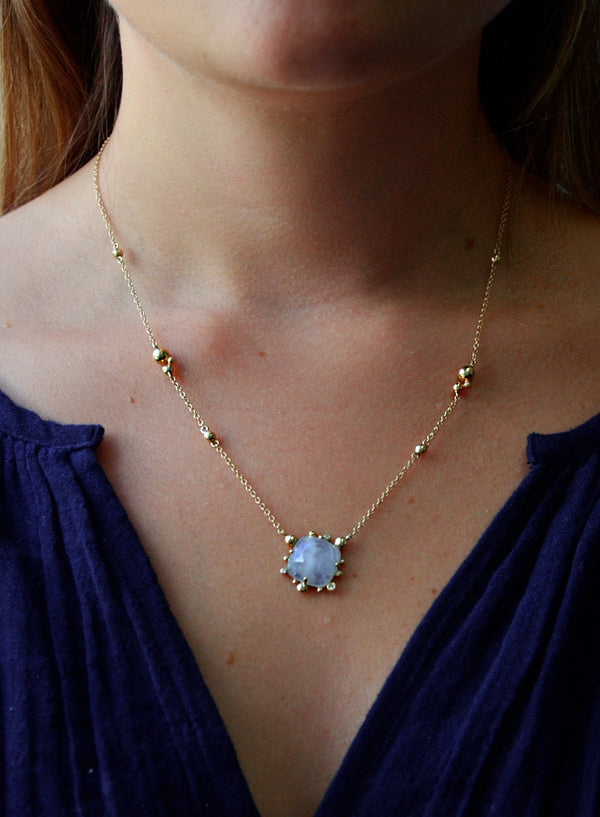 Dew Drop Marine Slice Necklace