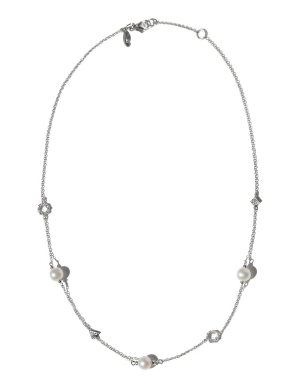 Cleo geometric crew Necklace - Clear Topaz, Pearls & Sapphires