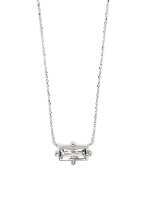 Cleo Baguette Necklace - Clear Topaz & Silver