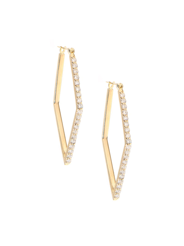 Cléo Geometric Thick Pavé Hoops