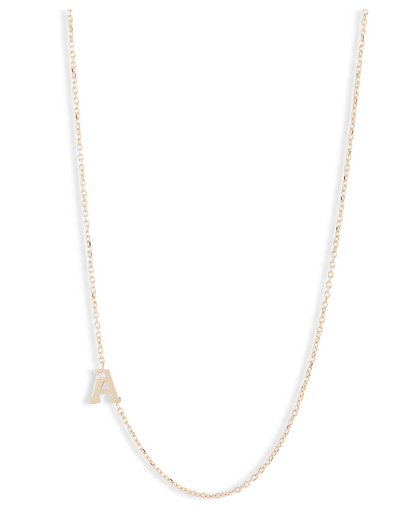 Love Letter Single Diamond Initial Necklace