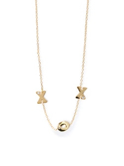 Customizable X O X Single Diamond Love Letters Crew Necklace