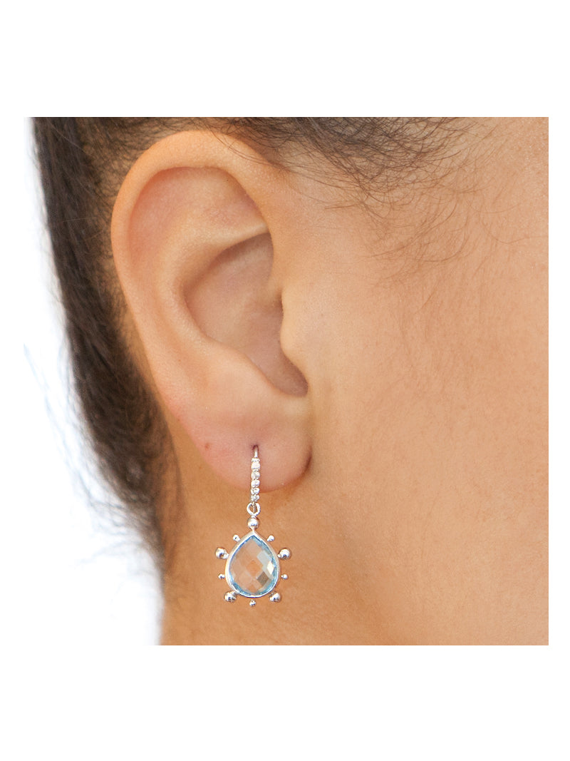 Pavé Dew Drop Marine Pear Earrings