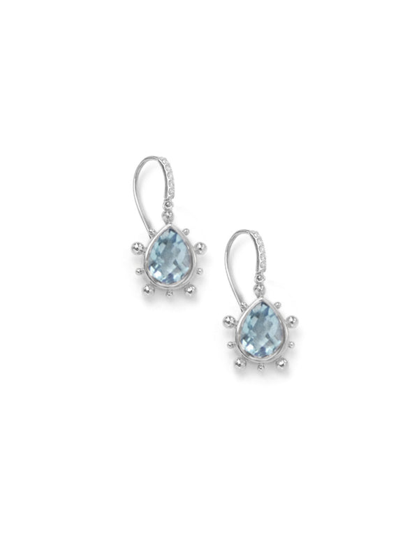 Pave Dew Drop Marine Pear Earrings