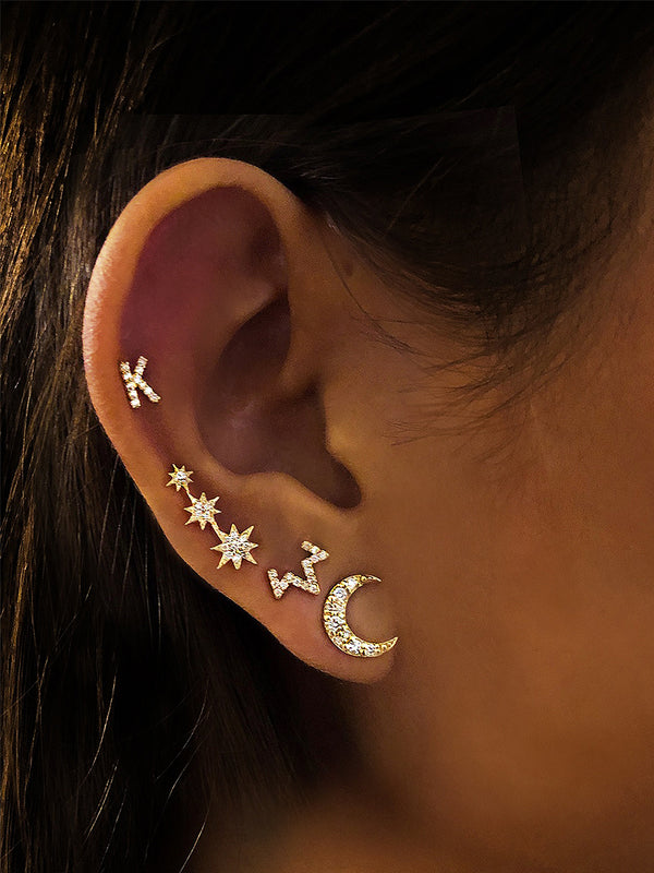 Aztec Large Moon Crescent Studs