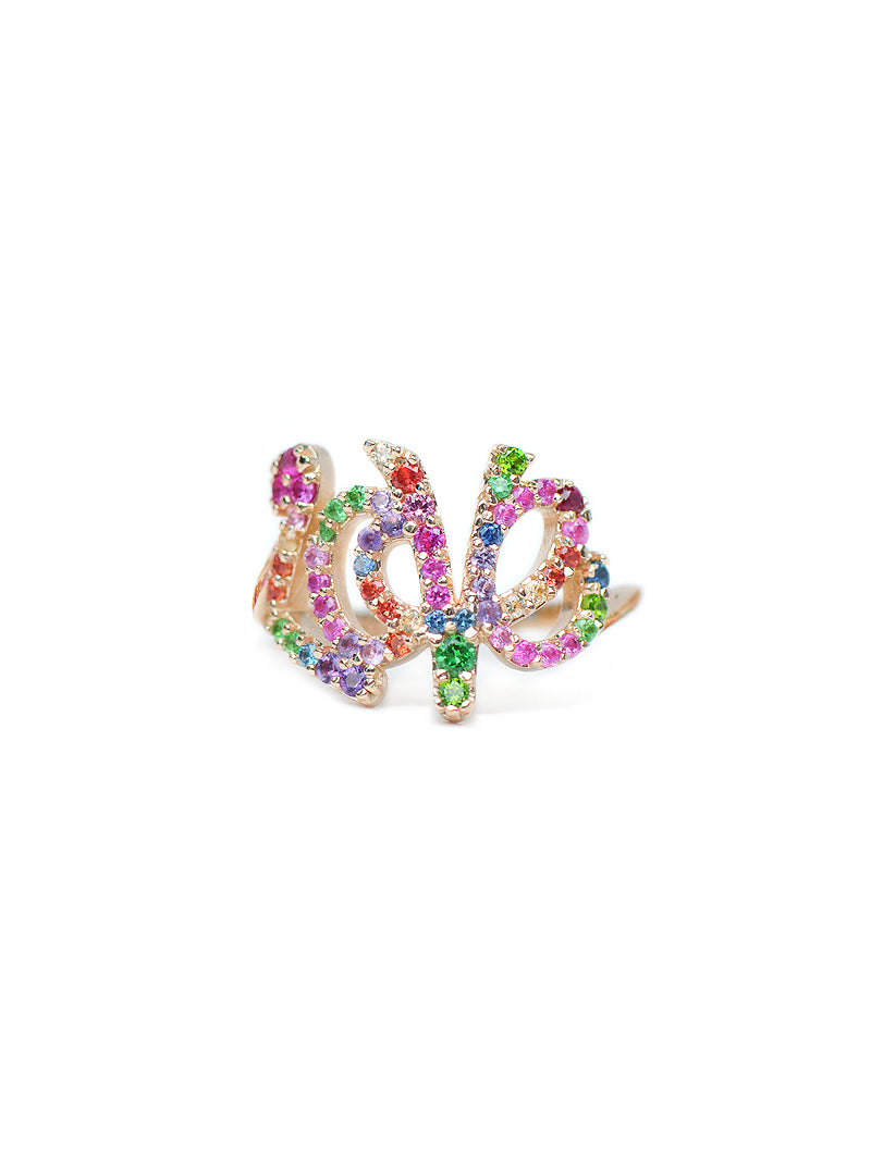 Love Letter Rainbow Pavé Script Ring