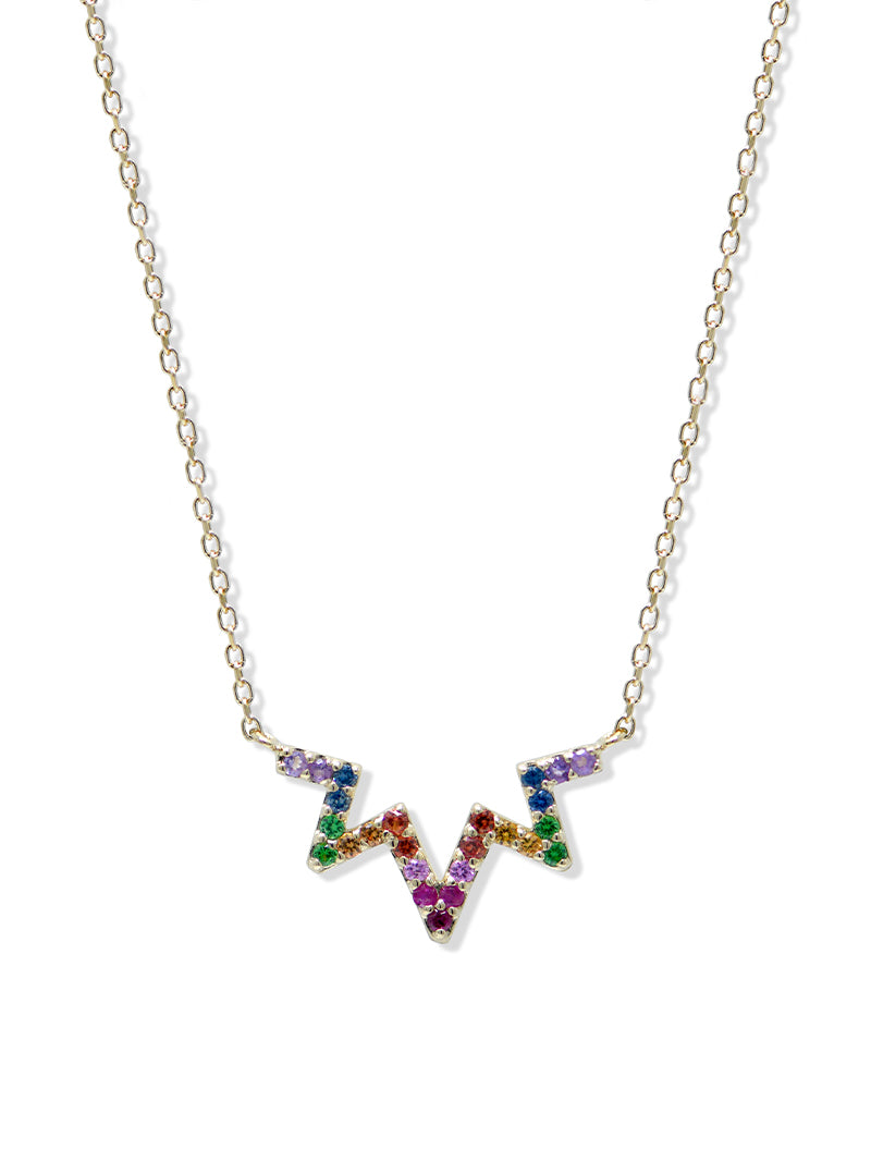 Aztec Starburst Rainbow Zig Zag Necklace