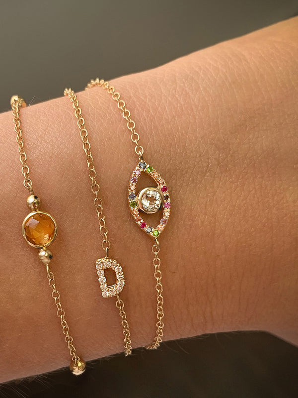 Customizable Love Letter Pavé Bracelet A to Z