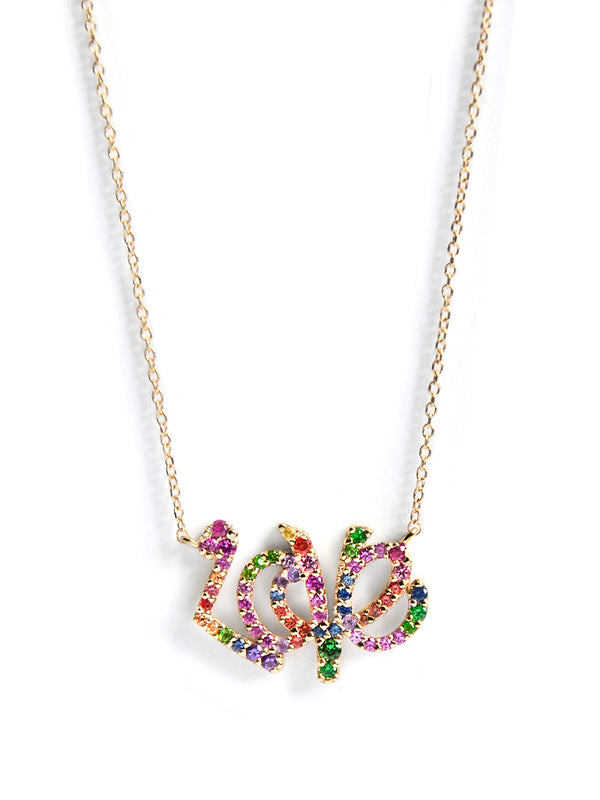 Love Letter Rainbow Pavé Script Necklace