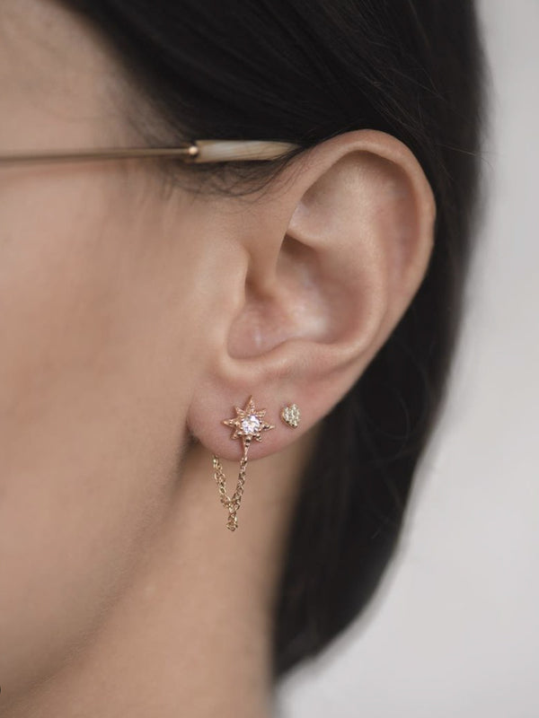 Micro Aztec Starburst Chain Earrings