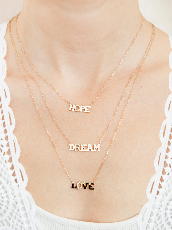 Customizable Love Letter LOVE Necklace